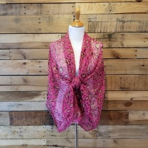 Magenta leopard print scarf/shawl/cover up